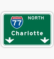 Charlotte, NC Road Sign Sticker