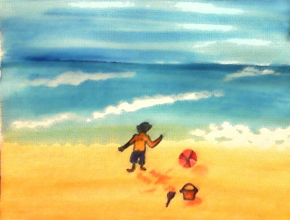 A  day at the beach and dirty already, watercolor by Anna  Lewis, blind artist