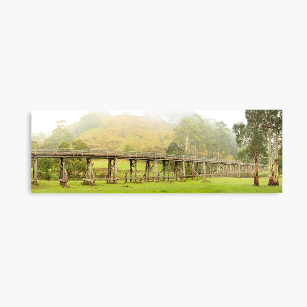 Foggy Trestle Bridge, Timboon, Victoria, Australia Metal Print