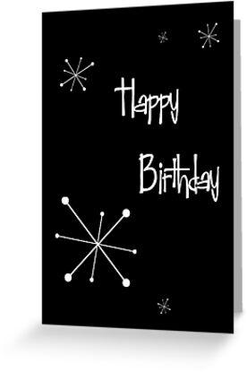 Black Retro Stars Birthday by Liam's Card-O-Rama
