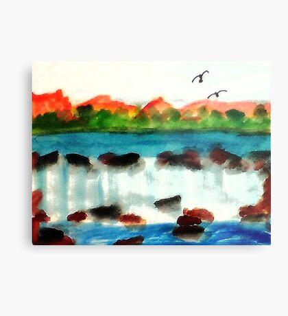 Big waterfall, watercolor Metal Print