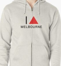 i ∆ melbourne (red) Zipped Hoodie