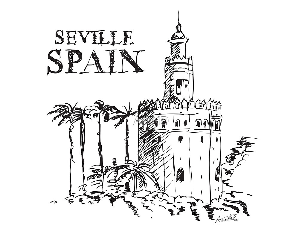 The Torre de Oro naval tower in Seville, Spain. by AMND