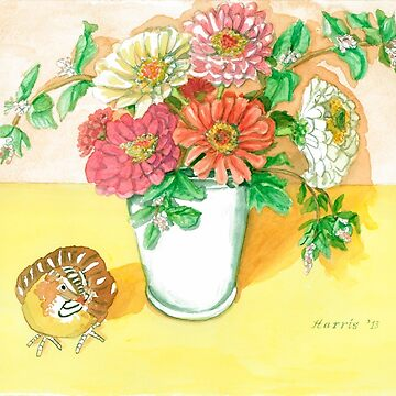 Zinnias - Still Life by clotheslineart