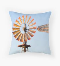 Vintage Windmill in the LIghtof the Setting Sun Throw Pillow