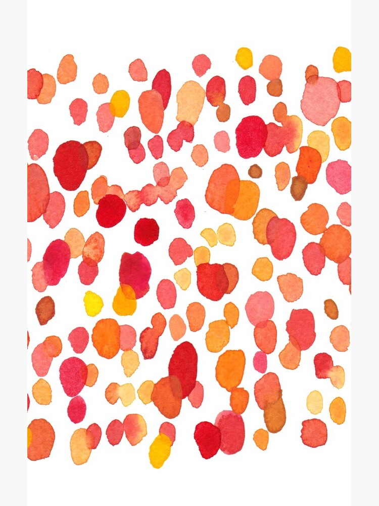 Dotty. Watercolor pattern. Red and Orange Dots by Florcitasart