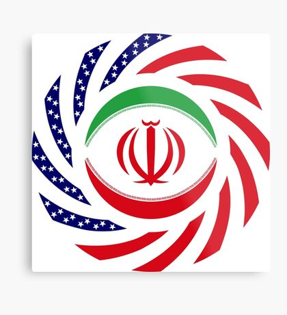Iranian American Multinational Patriot Flag Series Metal Print