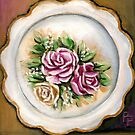 Pink Flower Plate by Pamela Plante