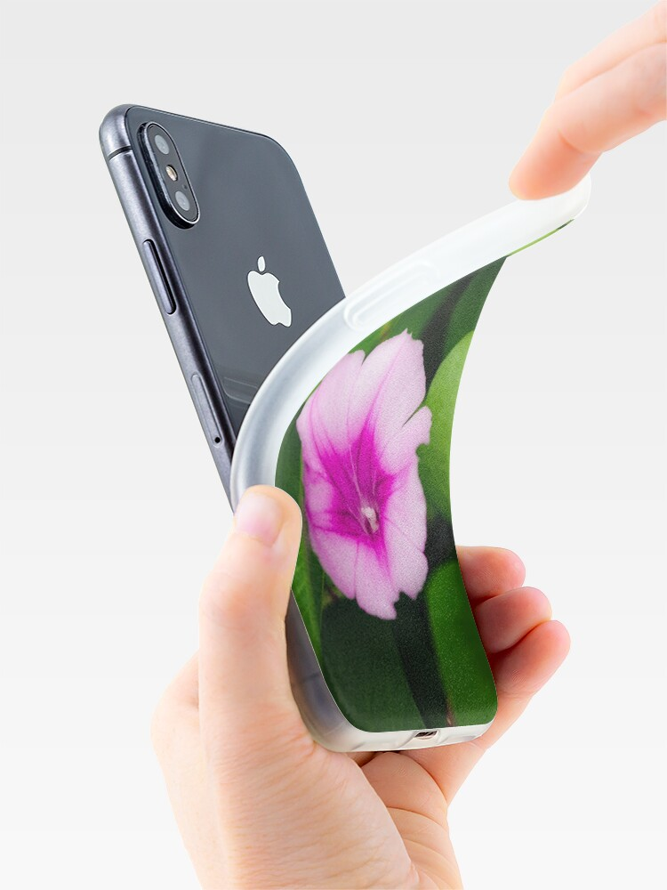 Alternate view of Purple flower between green leaves iPhone Case & Cover