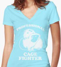 Camiseta entallada de cuello en V Luchador profesional de la jaula