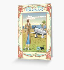 Art Nouveau Jean Batten 1930's Aviator Greeting Card