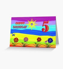 Childs Rainbow  5th Birthday Card Greeting Card