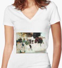 The Cretan House... Women's Fitted V-Neck T-Shirt