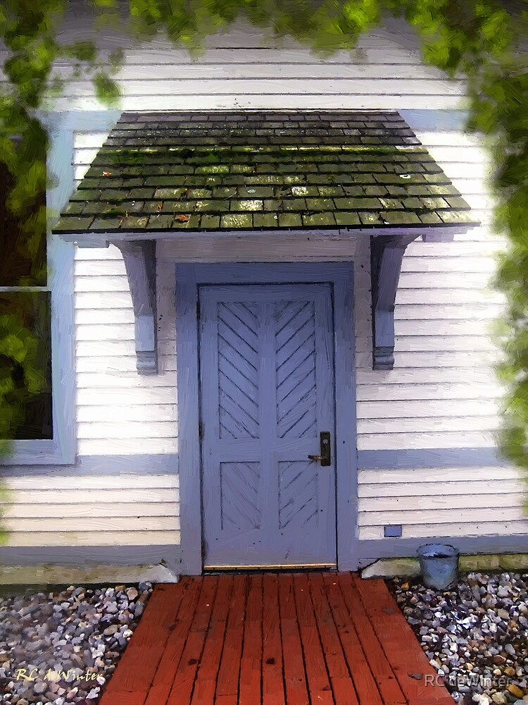 Blue Cottage Door in Early Fall by RC deWinter