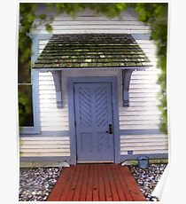 Blue Cottage Door in Early Fall Poster