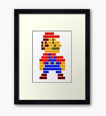 8-bit brick mario Framed Print