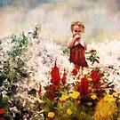 Little Girl Walking Among Flowers by Erica Yanina Horsley