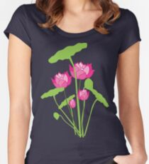 Pink color water lily flower Women's Fitted Scoop T-Shirt