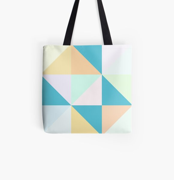 Modern Geometric Pastel Triangles in Orange, Yellow and Teals All Over Print Tote Bag