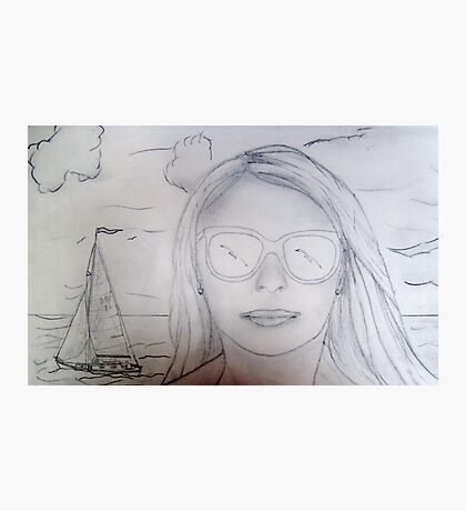 My pencil drawing of St Christopher and a Beautiful French Girl Photographic Print