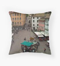 """Streetscape - Caldaro al Lago, Veneto, Italy"" Throw Pillow"