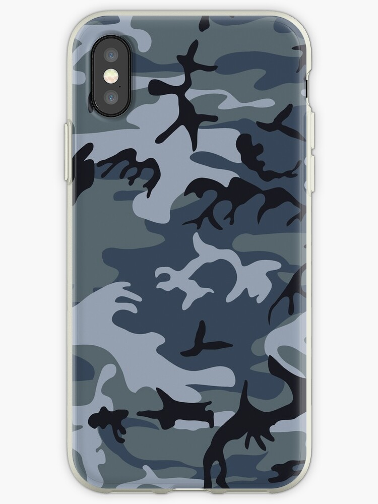 Navy Blue Grey Camo Camouflage by limitlezz