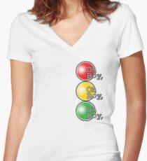 Oh Boy traffic light design Women's Fitted V-Neck T-Shirt