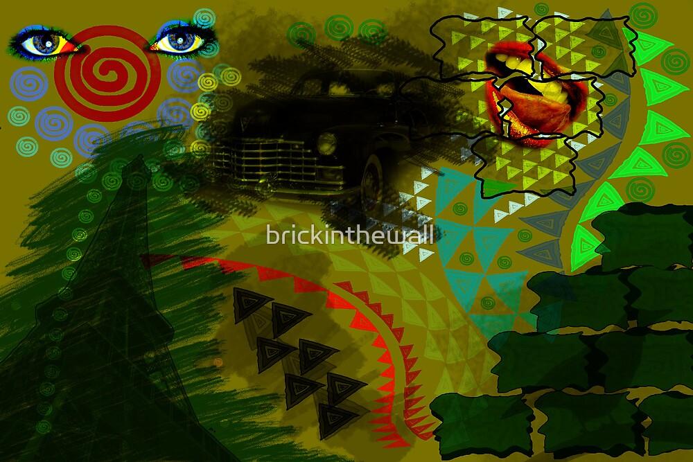 Composition Eiffel, Cadillac, Bird and lips by brickinthewall