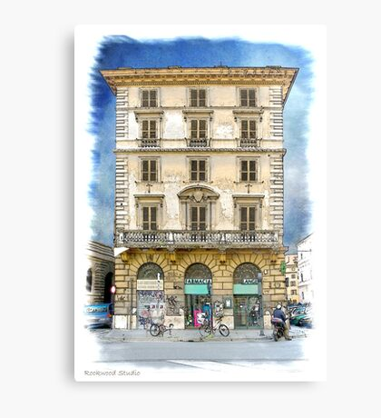 Pen and Wash Building (Digital) Canvas Print