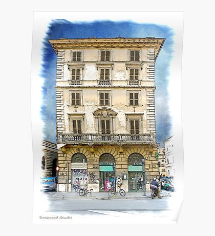 Pen and Wash Building (Digital) Poster