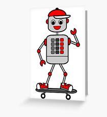 Cartoon Robot Boy on Skateboard Greeting Card
