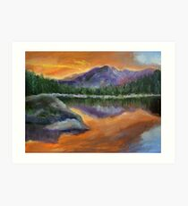 sunset moutains Art Print