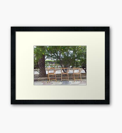 chatting chairs Framed Print