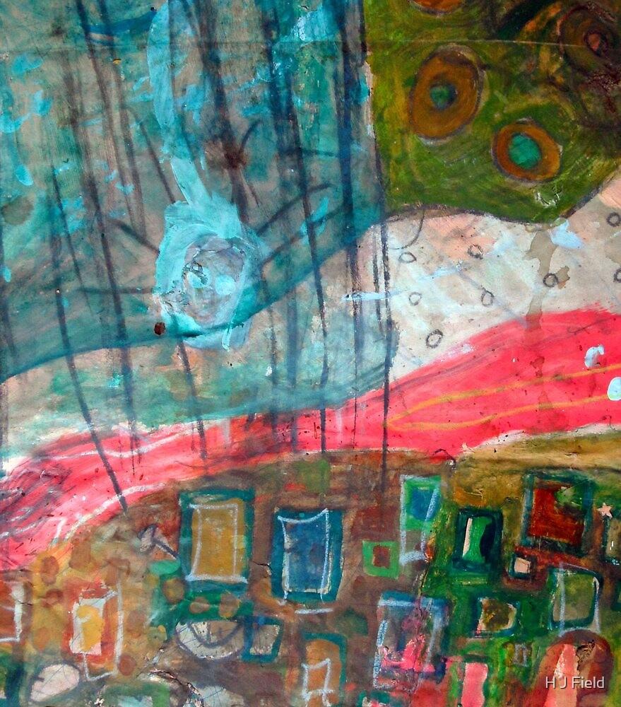 aqua red landscape by H J Field