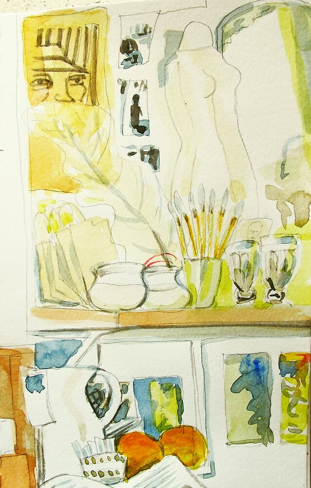 two papaya and several chinese brushes by donna malone
