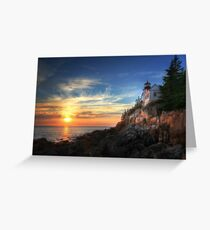 Sunset Glow - Bass Harbor Greeting Card