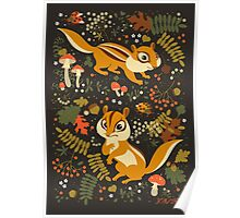 Two Cute Chipmunks in Autumn Background Poster