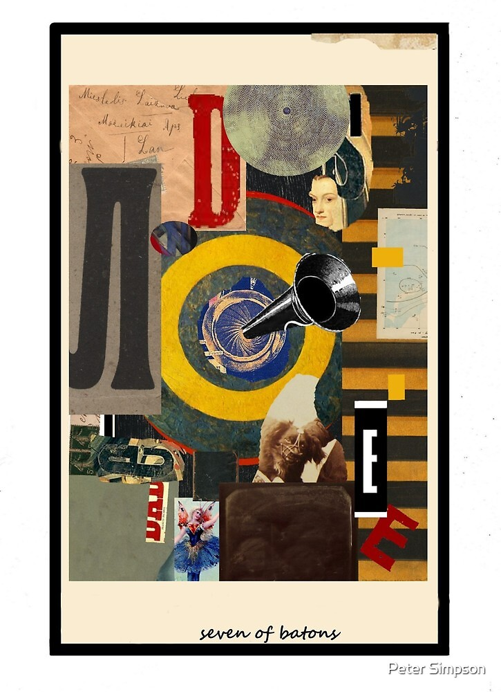 Dada Tarot- Seven of Batons by Peter Simpson