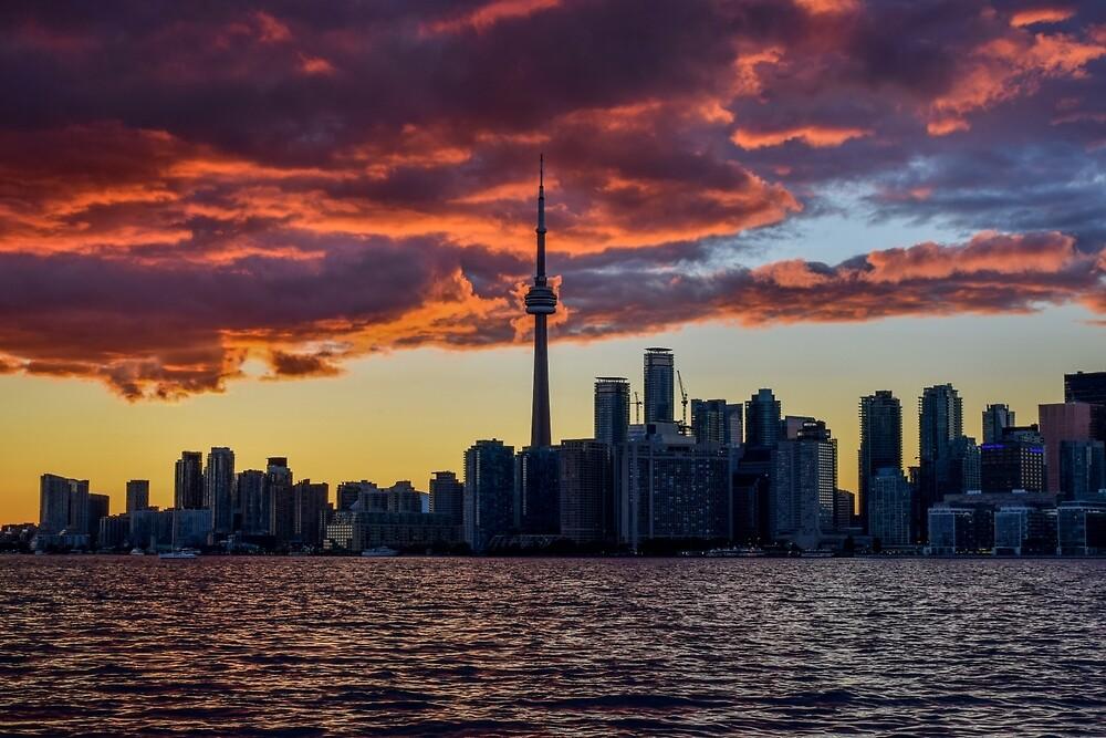 Fire sunset over Toronto by Luke Farmer
