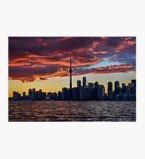 Fire sunset over Toronto Photographic Print