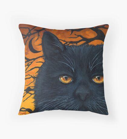 Black Cat Halloween Throw Pillow