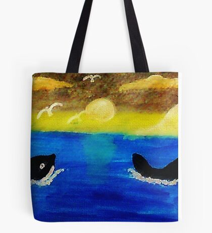Whales  frolicing, watercolor Tote Bag