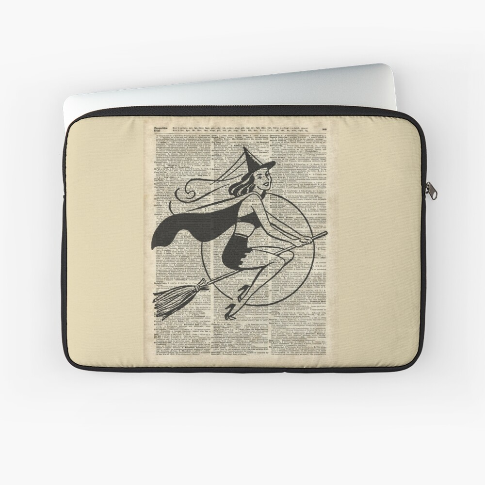 Witch Flying on Broom,Haloowen Party Costume Vintage Style Dictionary Art Funda para portátil