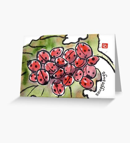 Ladybugs Hibernating on a Withered Leaf Greeting Card