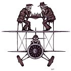 Chess game on the vintage airplane surreal black and white drawing by Vitaliy Gonikman