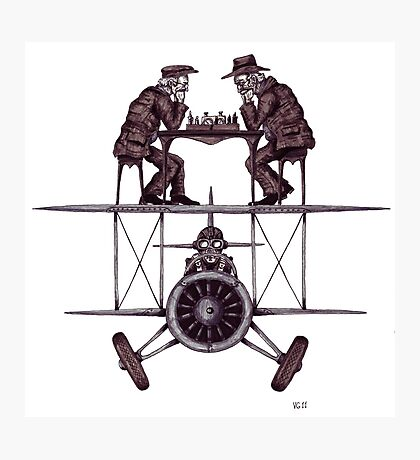Chess game on the vintage airplane surreal black and white drawing Photographic Print