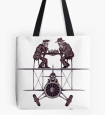 Chess game on the vintage airplane surreal black and white drawing Tote Bag