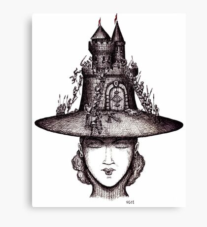 Castle on the girl's hat surreal black and white pen ink drawing Canvas Print