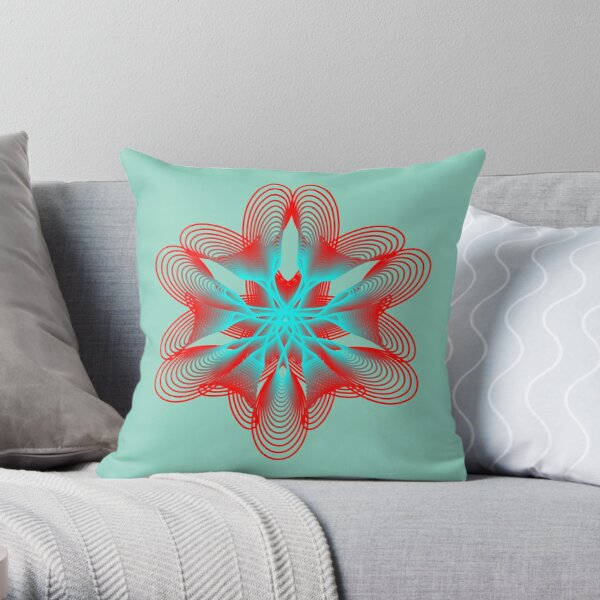 Spirograph with Red and Blue Throw Pillow