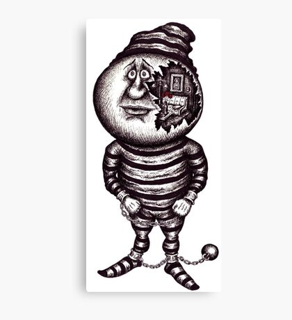 Prisoner of the material. Surreal black and white pen ink drawing Canvas Print